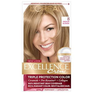 L'Oreal Paris Excellence Creme Triple Protection Color Creme Haircolor, Medium Blonde 8