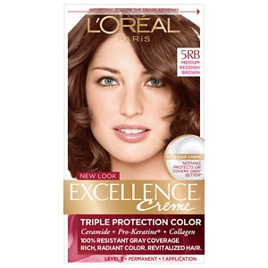 L'Oreal Paris Excellence Creme Triple Protection Color Creme Haircolor, Medium Reddish Brown 5RB