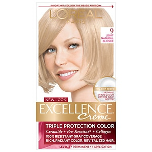 L'Oreal Paris Excellence Creme Triple Protection Color Creme Haircolor, Light Natural Blonde 9