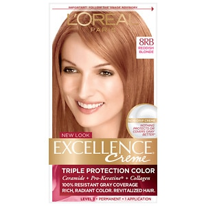L'Oreal Paris Excellence Creme Triple Protection Color Creme Haircolor, Reddish Blonde 8RB Warmer