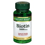Nature's Bounty Biotin 5000mcg Super Potency Capsules- 60 ea