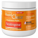 Neutrogena Rapid Clear Daily Treatment Pads Salicylic Acid Acne Treatment, Maximum Strength- 60 pads