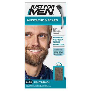 Just For Men Brush-In Color Gel for Mustache & Beard, Light Brown M-25- 1 ea