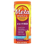 Metamucil Smooth Sugar Free Powder 72 Teaspoons, Orange- 15 oz