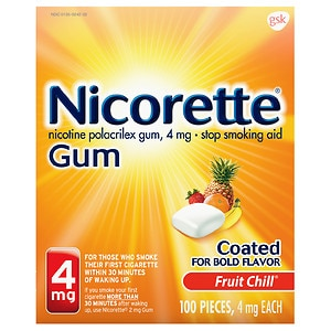 Nicorette Nicotine Gum, 4mg, Fruit Chill- 100 ea