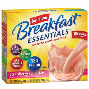 Carnation Breakfast Essentials Complete Nutritional Drink, Packets, Strawberry Sensation, 10 pk
