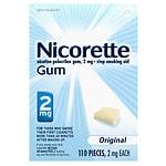 Nicorette Nicotine Gum, 2mg, Original- 110 ea