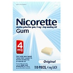 Nicorette Nicotine Gum 4mg, Original- 110 ea