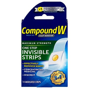 Compound W One Step Invisible Strips Wart Remover- 14 ea