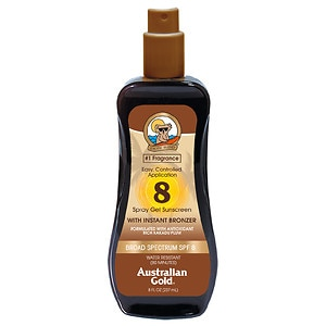 Australian Gold Spray Gel with Instant Bronzer, SPF 8- 8 fl oz