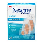 Nexcare Waterproof Clear Bandages, Assorted- 20 ea