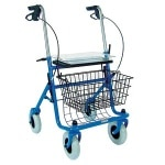 Duro-Med Rollator Steel With Brakes - 4-Whl Blue 30.5-38.5HX23W Seat/Basket