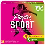Playtex Sport Tampons, Unscented Multipack, 18 Regular, 18 Super- 1 ea