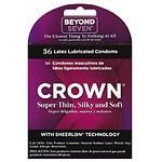 Crown Natural Rubber Latex Condoms, Lightly Lubricated- 36 ea