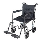 Drive Medical Lightweight Steel Transport Wheelchair with Fixed Full Arms, 17 inch, Silver Vein- 1 ea