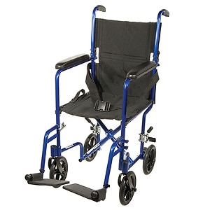 Drive Medical Lightweight Transport Wheelchair, 17 Inch, Blue