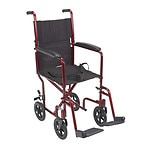 Drive Medical Lightweight Transport Wheelchair, 17 Inch, Red- 1 ea