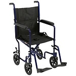 Drive Medical Lightweight Transport Wheelchair, 19 Inch, Black- 1 ea