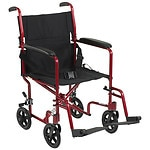 Drive Medical Lightweight Transport Wheelchair, 19 Inch, Red