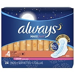 Always Fresh Maxi  Active Pads Overnight with Flexi-Wings, Clean Scent- 24 ea