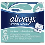 Always Feminine Wipes Individually Wrapped, Fresh & Clean- 20 ea