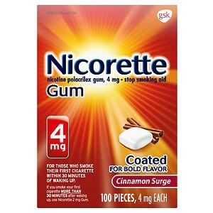 Nicorette Nicotine Gum, 4mg, Cinnamon Surge- 100 ea