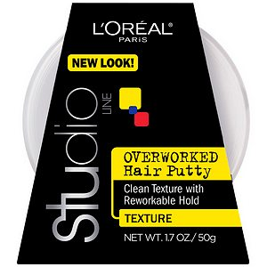 L'Oreal Paris Studio Overworked, Hair Putty Styling Gel, Texture and Control- 1.7 oz