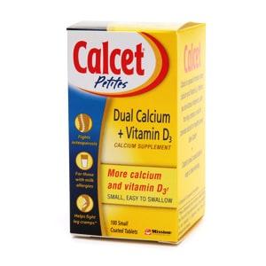 Calcet Dual Calcium + Vitamin D3 Calcium Supplement Tablets- 100 tablets