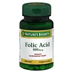 Nature's Bounty Natural Folic Acid 800 mcg Dietary Supplement,