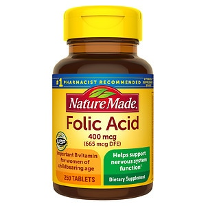 Nature Made Folic Acid, 400mcg, Tablets- 250 ea