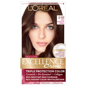 L'Oreal Paris Excellence Creme Triple Protection Color Creme Permanent Haircolor, Dark Chocolate Brown 4AR Cooler