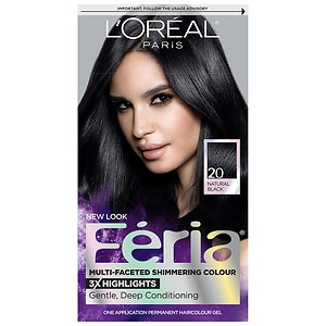 L'Oreal Feria Multi-Faceted Shimmering Colour 3x Highlights, Permanent, Black Leather 20