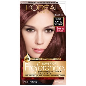 L'Oreal Paris Superior Preference Fade Defying Color & Shine System, Permanent, Medium Auburn- 1 ea