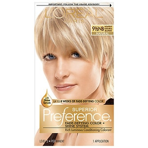L'Oreal Superior Preference Fade Defying Color & Shine System, Permanent, Lightest Natural Blonde 9.5NB