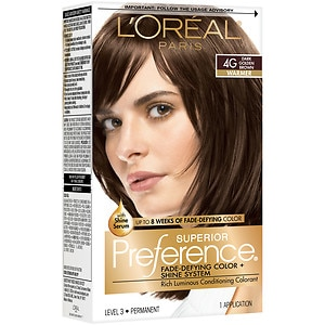 L'Oreal Paris Superior Preference Fade Defying Color & Shine System, Permanent, Dark Golden Brown 4G