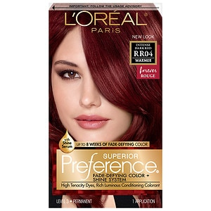 L'Oreal Paris Preference Fade Defying Color & Shine System, Permanent, Intense Dark Red RR-04
