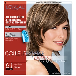 L'Oreal Paris Couleur Experte Express Easy 2-in-1 Color + Highlights, Light Ash Brown French Eclair 6.1