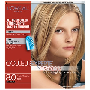 L'Oreal Paris Couleur Experte Express Easy 2-in-1 Color + Highlights, Medium Blonde Toasted Coconut 8- 1 ea