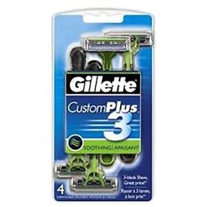 Gillette CustomPlus 3 Disposable Razors, Soothing- 4 ea