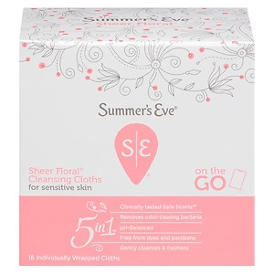 Summer's Eve Cleansing Cloths for Sensitive Skin, Sheer Floral