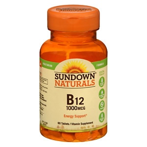 Sundown Naturals High Potency B12, 1000mcg, Tablets, 60 ea