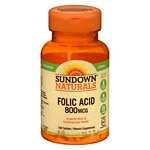Sundown Naturals Folic Acid, 800mcg, Tablets- 100 ea