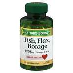 Nature's Bounty Omega 3-6-9 Fish, Flax, Borage 1200mg Softgels- 60 ea