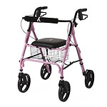 Medline Walker, Rolling with Seat, Pink With Breast Cancer Awareness Logo- 1 ea