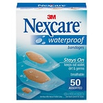 Nexcare Waterproof Clear Bandage, Assorted Sizes- 50 ea
