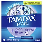 Tampax Pearl Plastic Applicator Tampons, Unscented, Lites- 36 ea