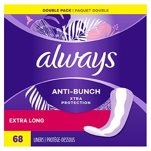 Always Xtra Protection Daily Liners, Extra Long, Unscented, 2pk, 68 ea
