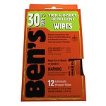 Ben's Tick &amp; Insect Repellent Wipes, 30% Deet