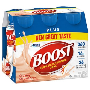 Boost Plus Complete Nutritional Drink, Creamy Strawberry, 8 oz Bottles, 6 pk