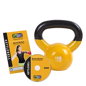 GoFit Premium Kettle Bell with DVD 10lb Yellow- 1 ea